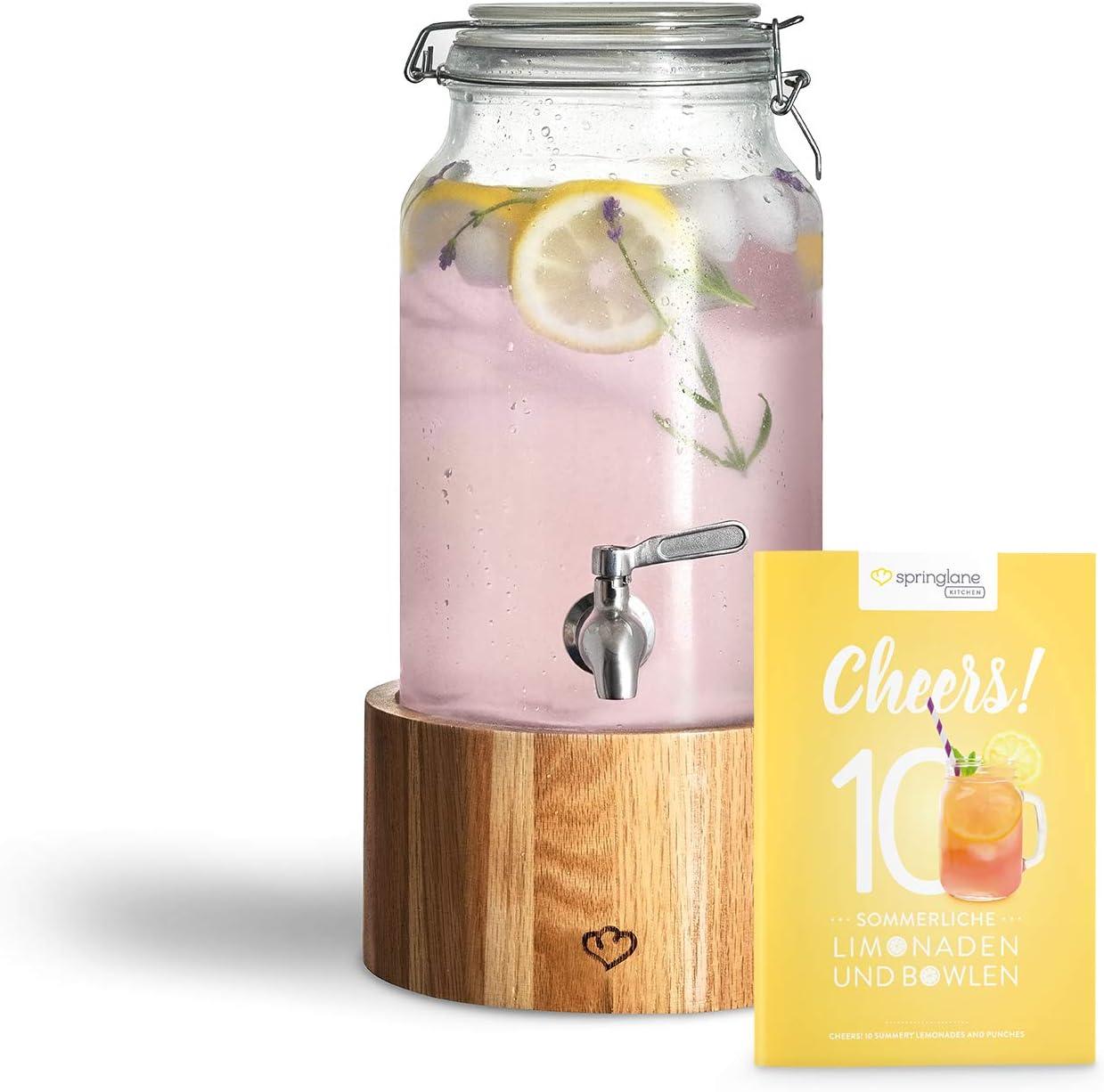 Dispensador de Bebidas 3,8 L con Grifo de Acero Inoxidable GRETA, Dispensador Bebidas Botella vidrio con soporte de Madera Mason Jar Vintage Design