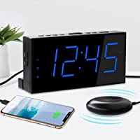 Super Loud Vibrating Alarm Clock with Bed Shaker for Heavy Sleepers Hearing Impaired Deaf Seniors,Dual Alarms Clock with…