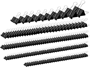 152 Pack Binder Clips Assorted Sizes, YSeaWolf,6 Different Sizes of Multipurpose, not Thin, not Easy to Break, Spring Tension Suitable Paper Clips, Paper Clamps - Sturdy Container Included(Black)