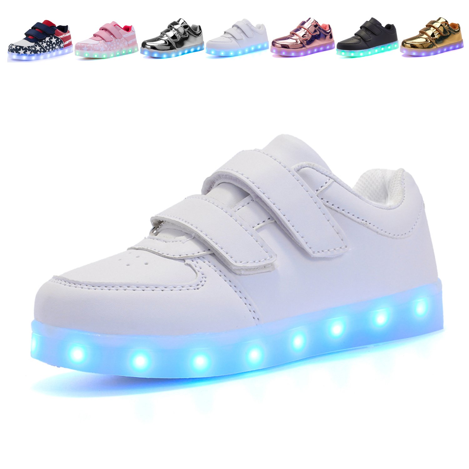 Voovix Kids LED Light up Shoes Lighting Low-Top Sneakers for Boys and Girls(White,US4.5/EU37)
