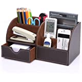 KINGOM™ 7 Storage Compartments Multifunctional PU Leather Office Desk Organizer,Desktop Stationery Storage Box Collection, Business Card/Pen/Pencil/Mobile Phone /Remote Control Holder Desk Supplies Organizer (Brown)