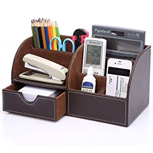 KINGOM 7 Storage Compartments Multifunctional PU Leather Office Desk Organizer,Desktop Stationery Storage Box Collection, Business Card/Pen/Pencil/Mobile Phone /Remote Control Holder Desk Supplies Organizer (Brown)