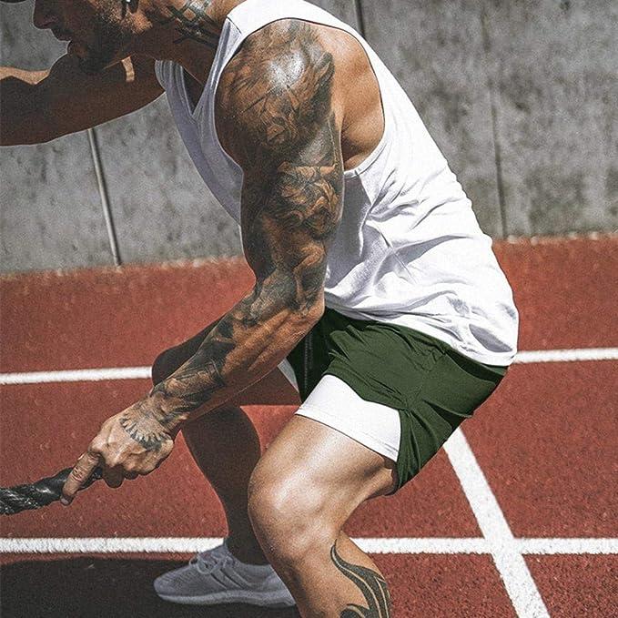 Short De Course /à Pied 2 en 1 pour Hommes,2019 Short De Compression Running Homme /à S/échage Rapide Respirant /à Double Couche Et Doublure De Poche Int/égr/ée Pantalon Court Dentra/înement