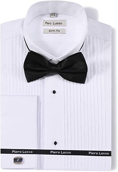 "New Mens Quality Wing Collar Dress Shirts White sizes 20/"" 23/"" Double Cuffed"