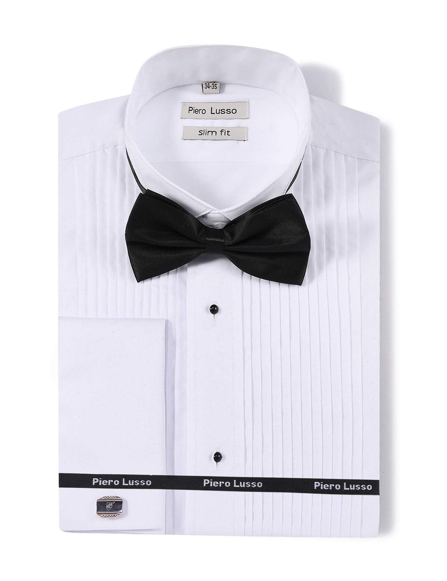 Piero Lusso Men's Wingtip Collar Tuxedo Dress Shirt with French Cuffs and Bow Tie White by Piero Lusso