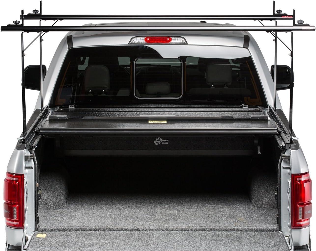 bak industries 26126bt bakflip cs hard folding truck bed cover integrated rack system black aluminum textured black finish bakflip cs hard folding