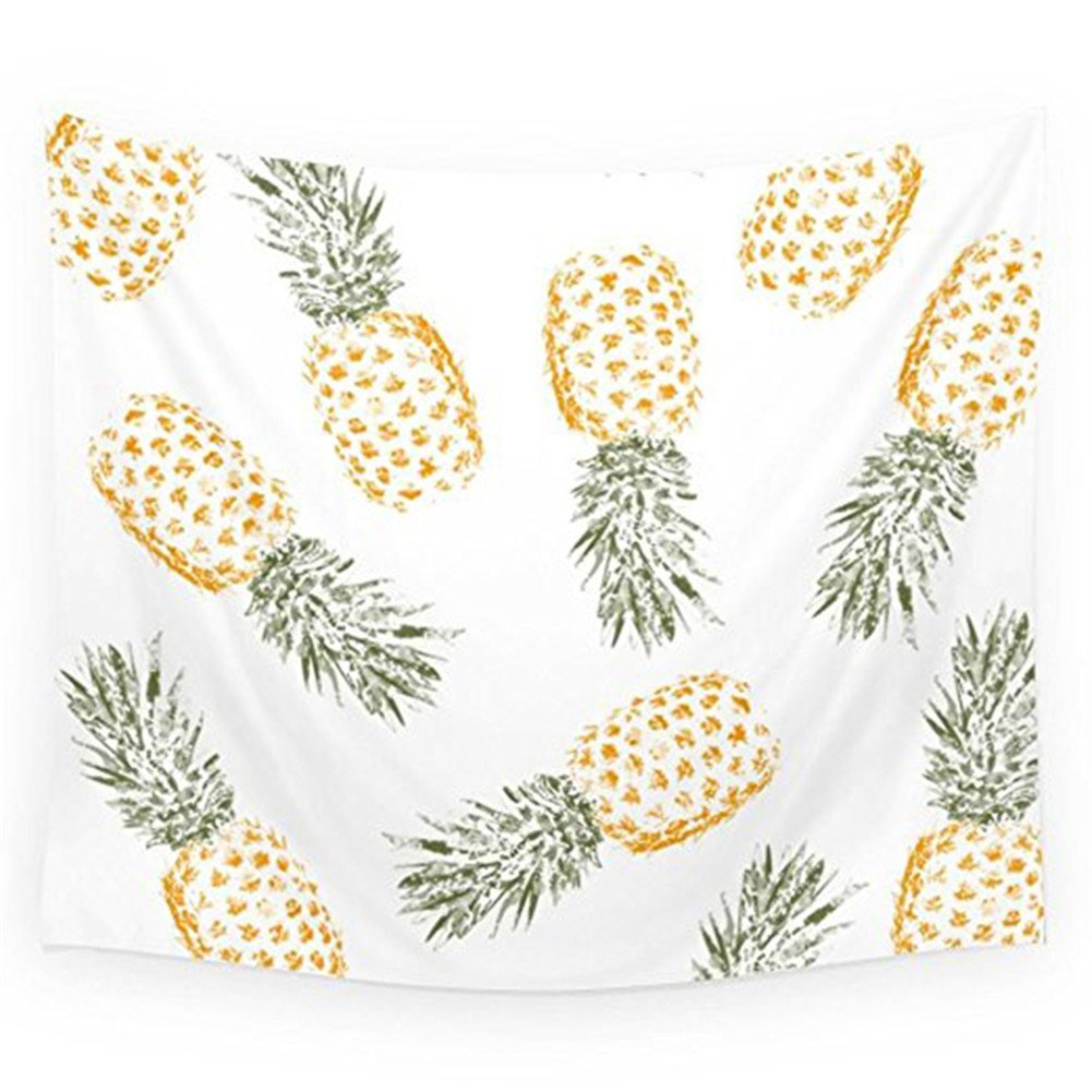 Pineapple Tapestry Wall Hangings Wall Blanket Art Dorm Shawl Beach Towel Throw Tapestry Decor Bedspread Bedroom Living Kids Girls Boys Room Dorm Accessories 51x59inchs (White-Yellow)