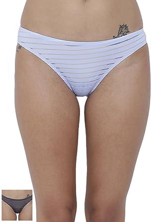 e96d23c7fc53 BASIICS by La Intimo Women's PolyMonoSpandex Travieso Naughty Brief Panty  (Pack of 2) BCPBR020B08F_Multi_XSmall
