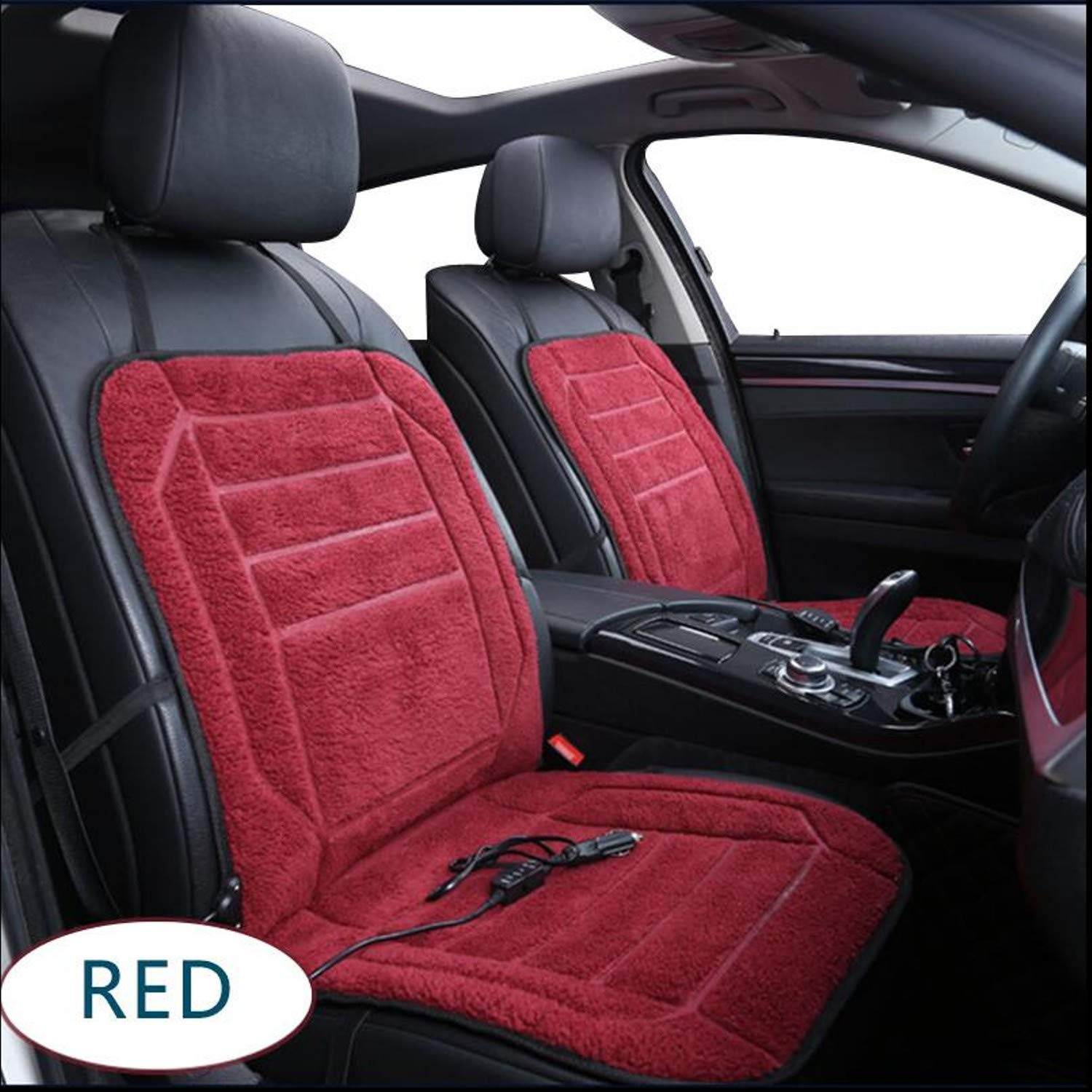 Heated Car Seat Cushion Cover 1PCS 12V Seat Heater Warmer Winter AUTOYOUTH Household Cushion Cardriver Car Interior Accessories (Black) Vimart