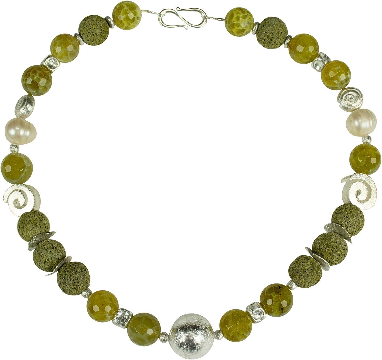 Collar de perlas de agua dulce, ágata, cristal de murano, janica, plata, piedras preciosas, hecho a mano, cadena de diseño