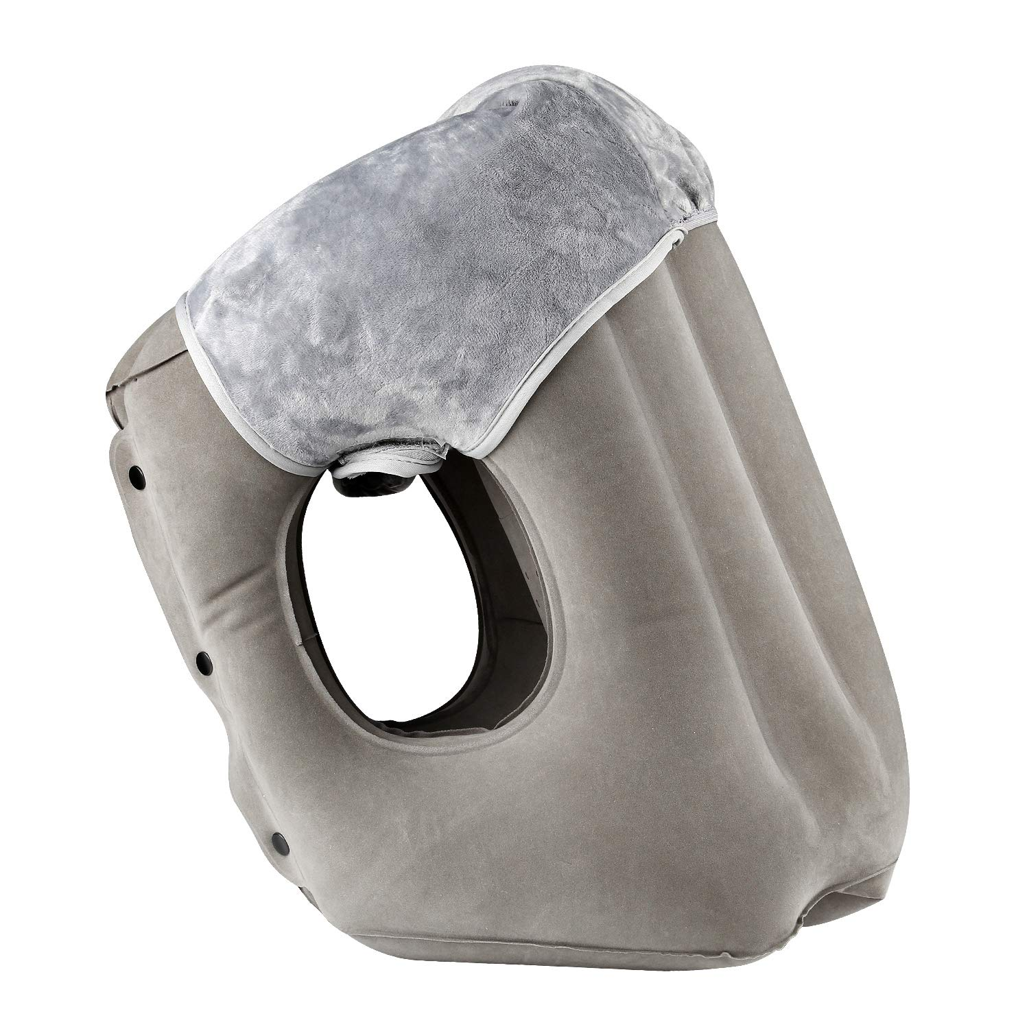 simptech Inflatable Travel Pillow,Airplane Pillow with Super Soft Slipcover, Big Valve Design Inflate and Deflate in Seconds, Unfolding Used As Lumbar Support,A Patented Product,HAIYANLE (Grey)