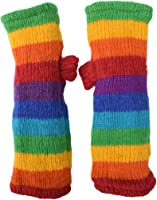 Little Kathmandu Women's Warm Woolen Fleece Lined Hand Knitted Striped Mittens Handwarmers