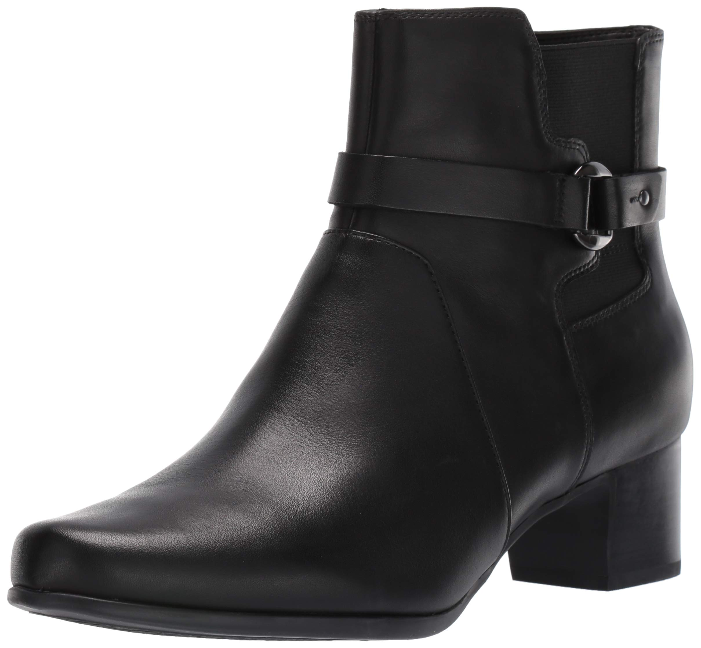CLARKS Women's Un Damson Mid Ankle Boot, Black Leather, 100 M US by CLARKS
