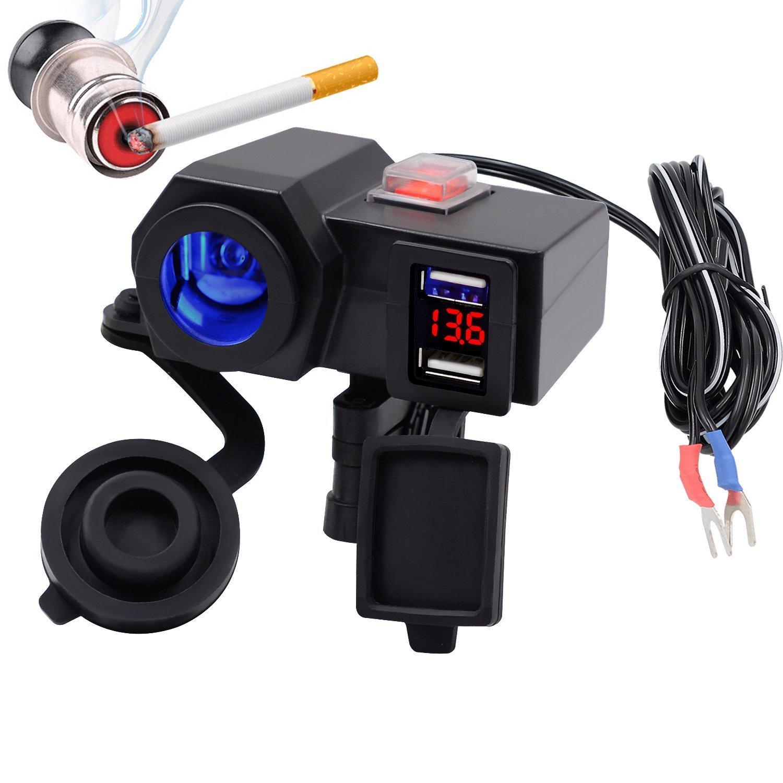 TurnRaise Imperm/éable /à l/'eau 12V Moto Guidon Mount Allume-Cigare 2.1 a USB Power Port Prise Combo pour iPad iPhone Cellphone GPS