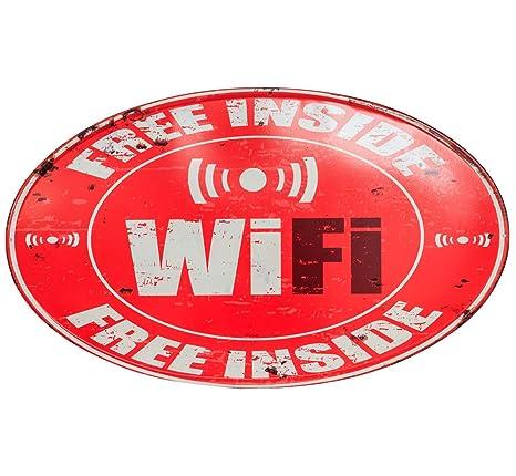 Muestra de Lata Placa Cartel Free Gratis WiFi Inside Chapa ...