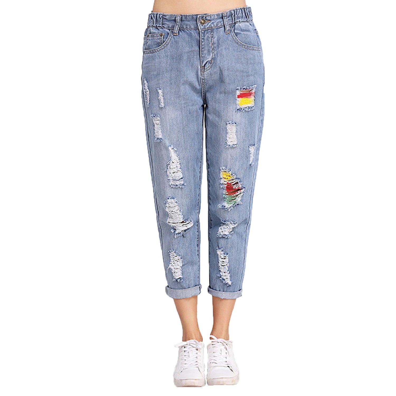 6fdc3e509335e3 Vintage Boyfriend Jeans Women Mid Waist Loose Denim Jeans Pants Plus Size  at Amazon Women's Jeans store