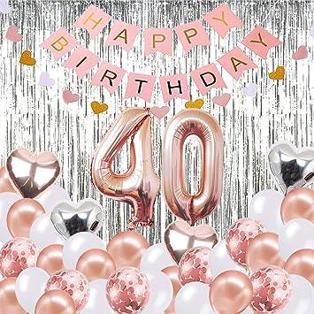 Globos Decorativos para cumpleaños de 40 años, Banner de Feliz cumpleaños, Globos número 40 de Oro Rosa, Número 40 Globos de cumpleaños, Suministros ...