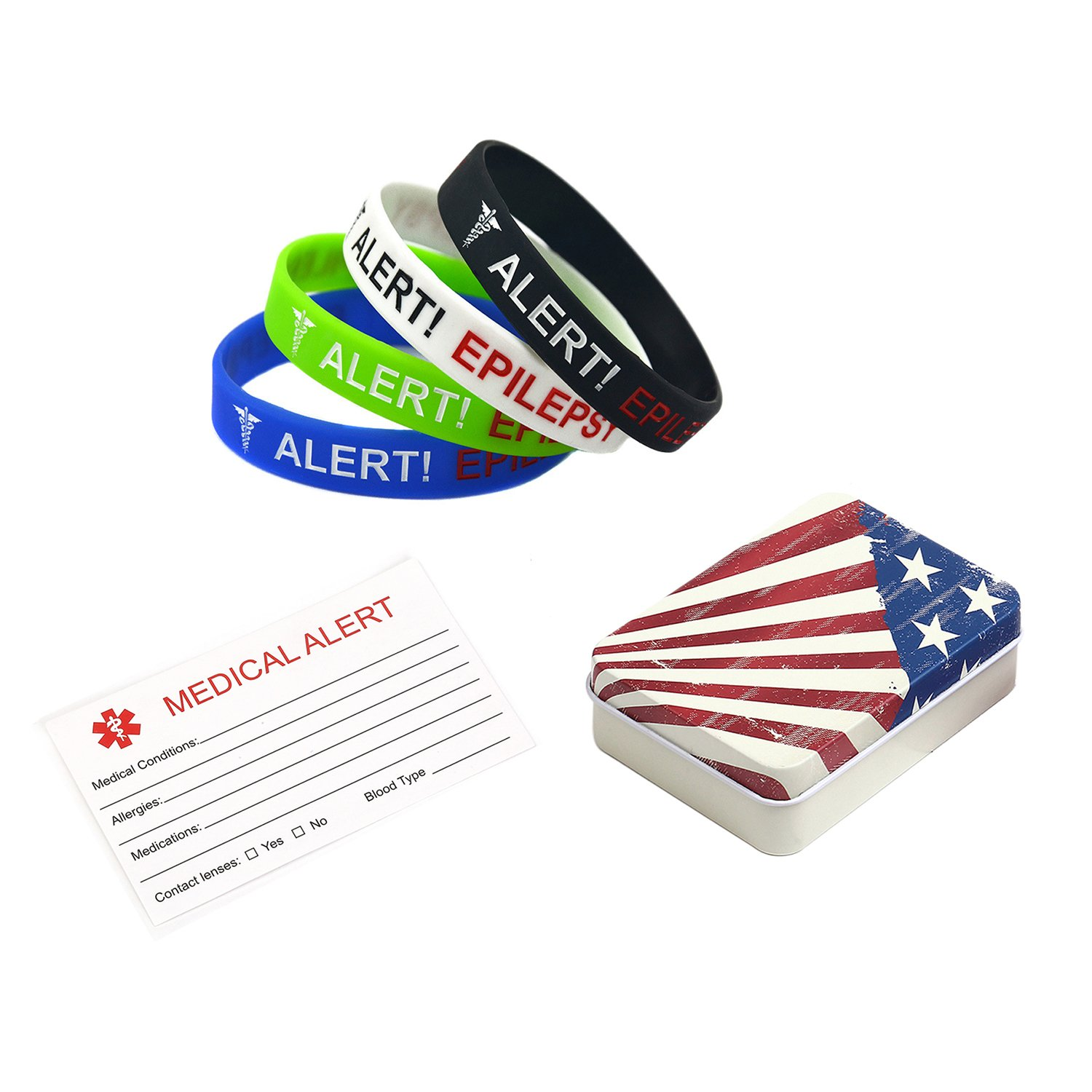 Details about BAIYI 4Pack EPILEPSY Alert Bracelet Silicone Medical ID  Wristband for Women