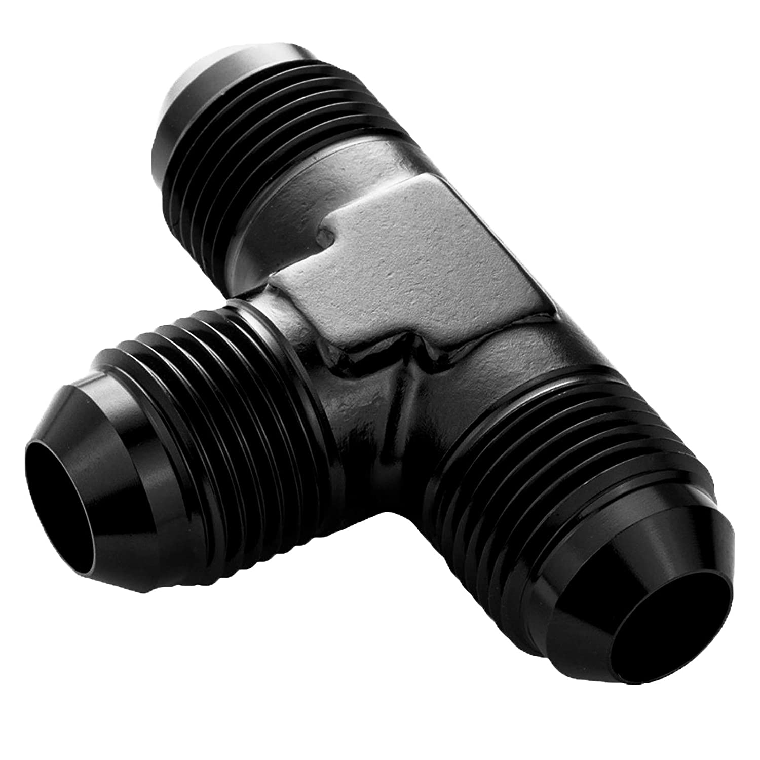 6AN Male to 6 AN Male Flare Hose Union Coupler Fitting with 1//8 NPT Pressure Side Port Fuel Line Pipe Adapter Aluminum Black