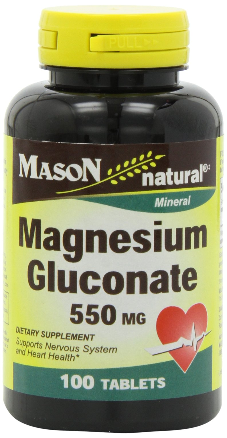 Mason Natural, Magnesium Gluconate 550 Mg Tablets, 100-Count Bottles (Pack of