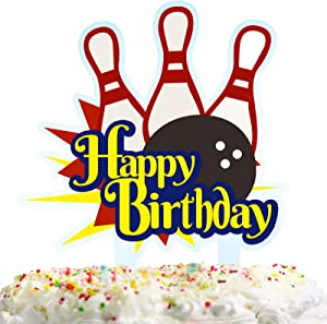 Happy Birthday Cake Topper Decorations for Bowling Theme Picks Baby Shower Party Decor Supplies