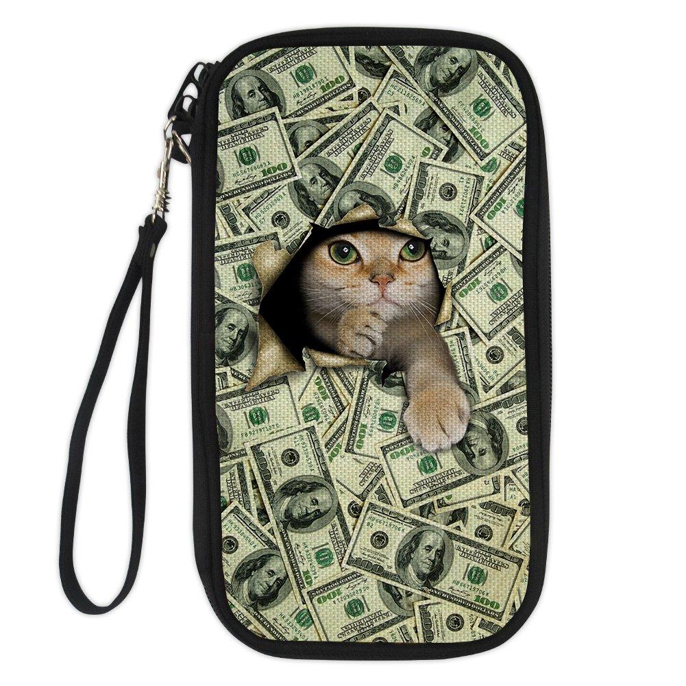 doginthehole 3D Money Cat Printed Passport Pouch Travel Wallet Crossbody Purses