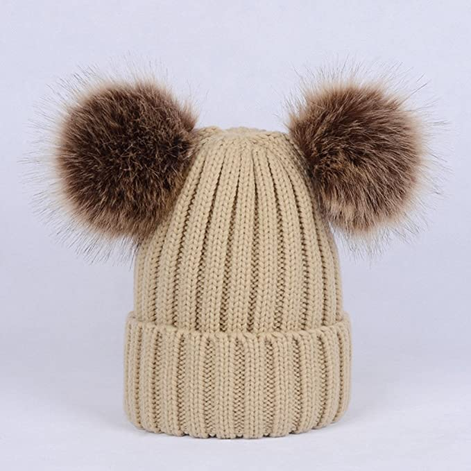 f26c31f9cf4 TINKSKY Winter Knit Beanie Bobble Hat Cap With Double Pom Pom Ears  Christmas Gift For Women Girls (Khaki) at Amazon Women s Clothing store
