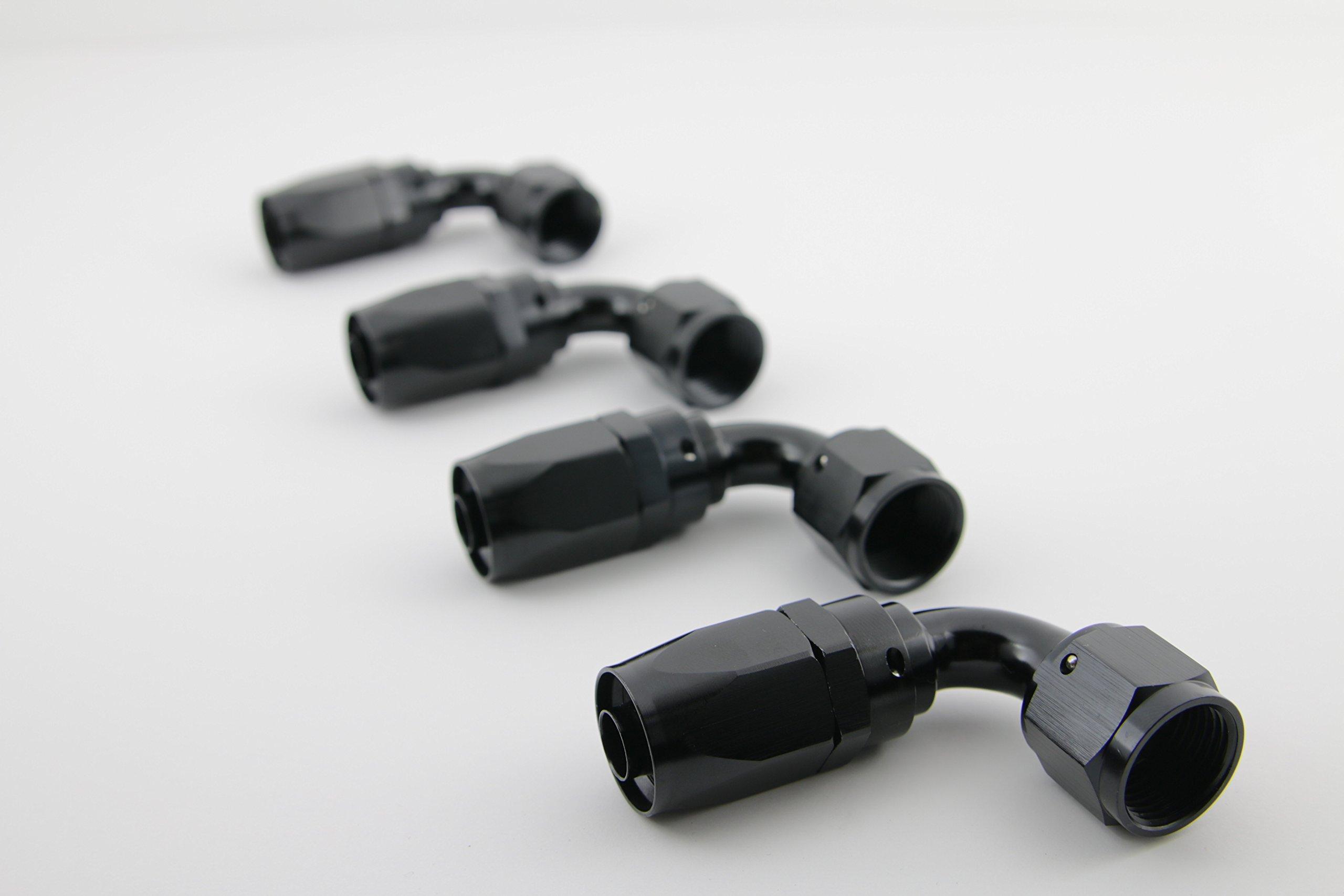 Kraken Automotive - Black 10AN 90 Degree Aluminum Swivel Hose End for Fuel, Oil, Coolant and Air (4 Pack)