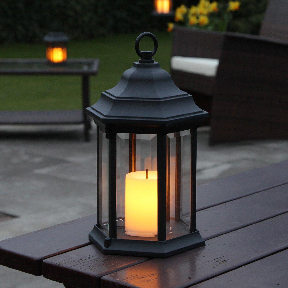 Outdoor Aluminium Lantern   Flickering Amber Candle   LED   Timer   27.8cm    Battery Operated By Festive Lights: Amazon.co.uk: Kitchen U0026 Home
