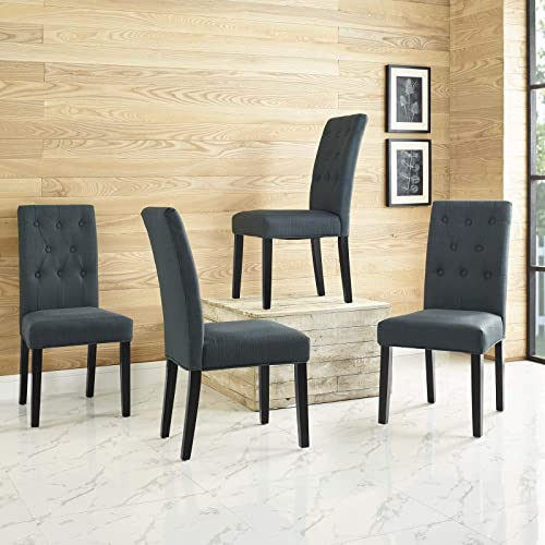 Modway Confer Modern Tufted Upholstered Fabric Parsons Four Kitchen and Dining Room Chairs in Gray