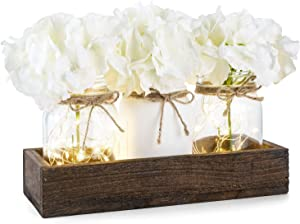 Mkono Lighted Floral Mason Jar Centerpiece Decorative Wood Tray with 3 Painted Jars Rustic Country Farmhouse Home Decor for Herb Plants Coffee Table Dining Room Living Room Kitchen Utensils Holder