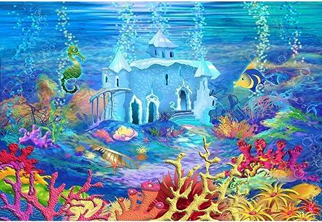 Cassisy 2,2x1,5m Vinilo Submarino Telon de Fondo Dibujos Animados de Especies Marinas Castillo Coral Pez Tropical Fondos para Fotografia Party ...