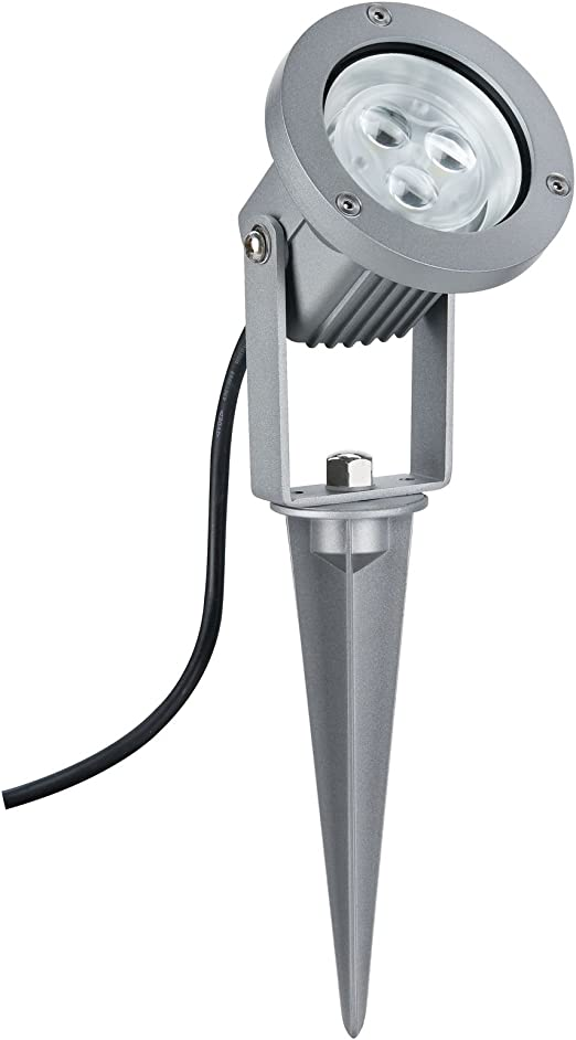 Paulmann 98845 Profi Line GardenSpot IP65 Focos para jardín (3 bombillas de 3 W, 3000 K, 16 VA, 230 V 12 V), color aluminio