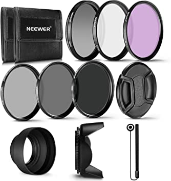 62mm Filter /& Hood Essential 7pc kit UV Polarizer /& FLD Deluxe Filter Kit Hard Lens Hood for Nikon Canon Sony DSLR Camera Micro Fiber Cloth Memory Card Wallet Bundle