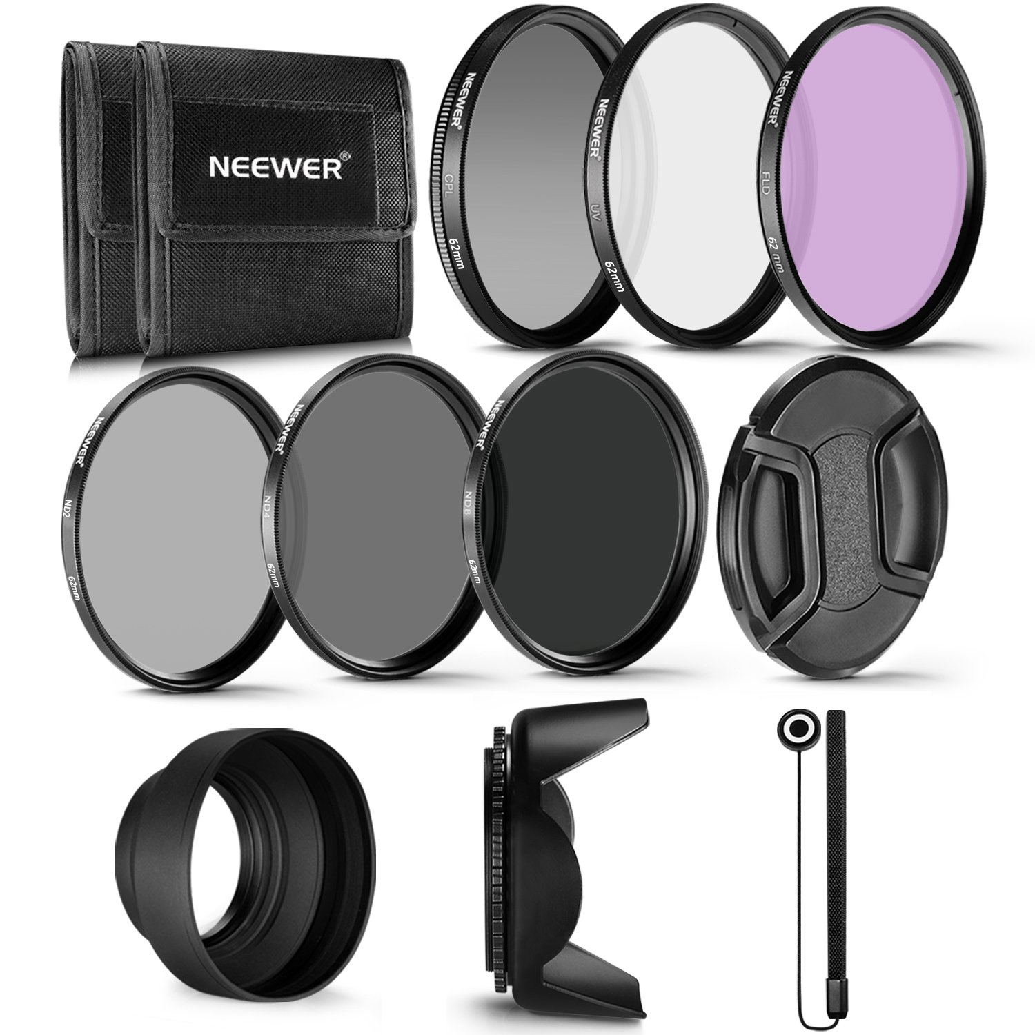 Neewer 62MM Professional UV CPL FLD Lens Filter and ND Neutral Density Filter(ND2, ND4, ND8) Accessory Kit for Pentax (K-30 K-50 K-5 K-5) and Sony Alpha A99 A77 A65 by Neewer