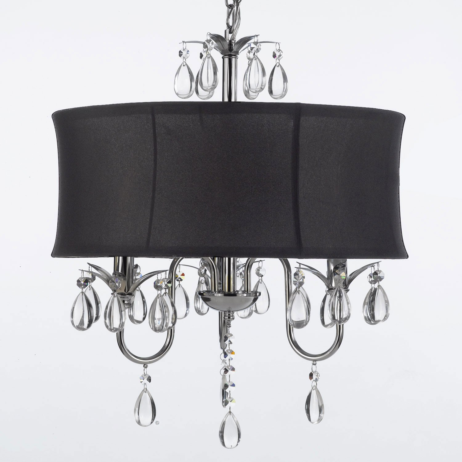 Modern Contemporary Black Drum Shade & Crystal Ceiling Chandelier