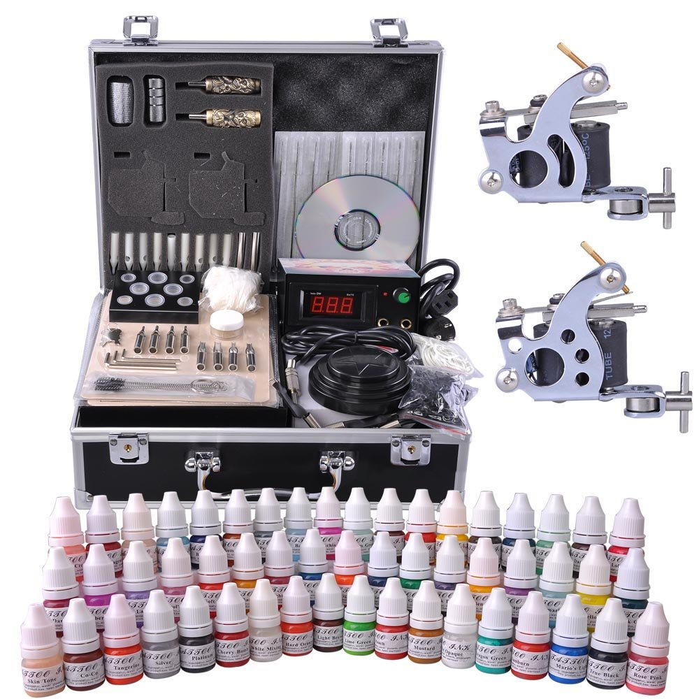 AW Complete Tattoo Kit 54 Color Ink 2 Machine Guns Set LCD Power Supply Equipment 360-degree Foot Switch by AW