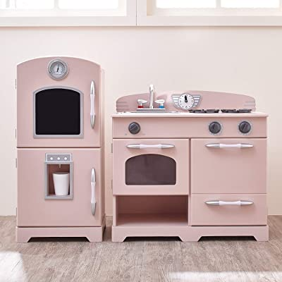 Teamson Kids - Retro Play Kitchen with Refrigerator. Freezer. Oven and Dishwasher - Pink (2 Pcs): Toys & Games