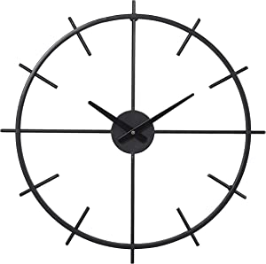 Modern Wall Clocks for Living Room Decor, Battery Operated Large Decorative Black Clock for Kitchen Bedroom Office, 21 Inch Clock Silent