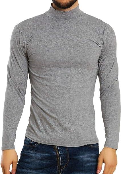 Toocool – Camiseta Hombre Cuello Alto Manga Larga Dolcevita Felpa Basic cálido K106: Amazon.es: Ropa y accesorios