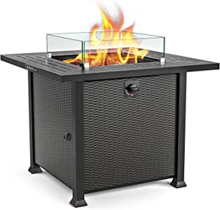 SNAN Propane Fire Pit Table, Outdoor Companion, 32 Inch 50,000 BTU Auto-Ignition Gas Fire Pit Table with Glass Wind Guard, Stove in Winter, Table in Summer, ETL Certification