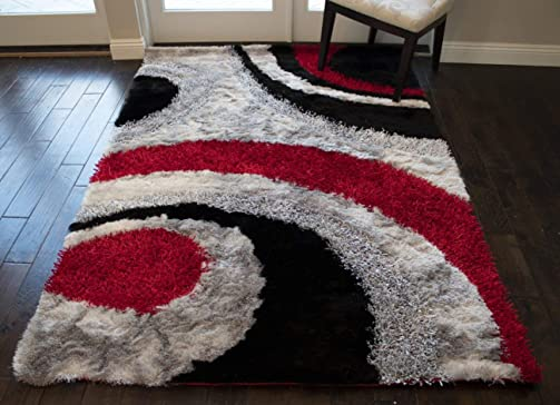8×10 Feet 3D Carved Super Soft Cozy Furry Fuzzy Red Black Silver Colors Area Rug Carpet Rug Plush Shaggy Shag Furry Decorative Designer Modern Contemporary Bedroom Living Room Hand Woven Canvas Back