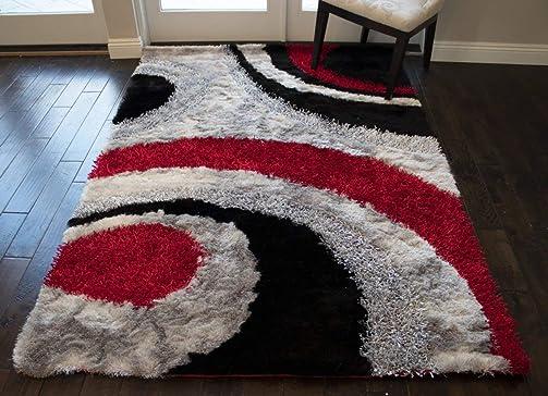 8 x10 Feet 3D Carved Super Soft Cozy Furry Red Black Silver Colors Area Rug Carpet Rug Plush Shaggy Shag Furry Decorative Designer Modern Contemporary Bedroom Living Room