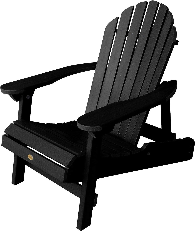 Highwood AD-CHL1-BKE Hamilton Folding and Reclining Adirondack Chair, Adult Size, Black