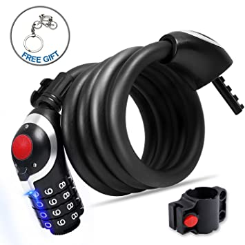 Bicycle LED Cable Bike Lock 4 Digit Resettable LED Combination Lock Security