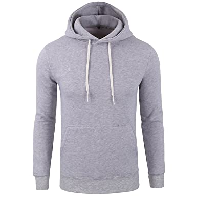 Amazon.com: Manwan walk Men's Basic Cotton Pullover Hoodie Thick ...
