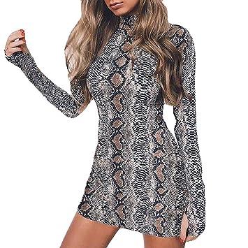 ec064eebbe0dd2 Damen Sexy Lange Ärmel Kleid Minikleid Mit Schlangenmuster Resplend Mode  Rollkragen Pulloverkleid A-Linie Slim Fit Dress: Amazon.de: Bekleidung