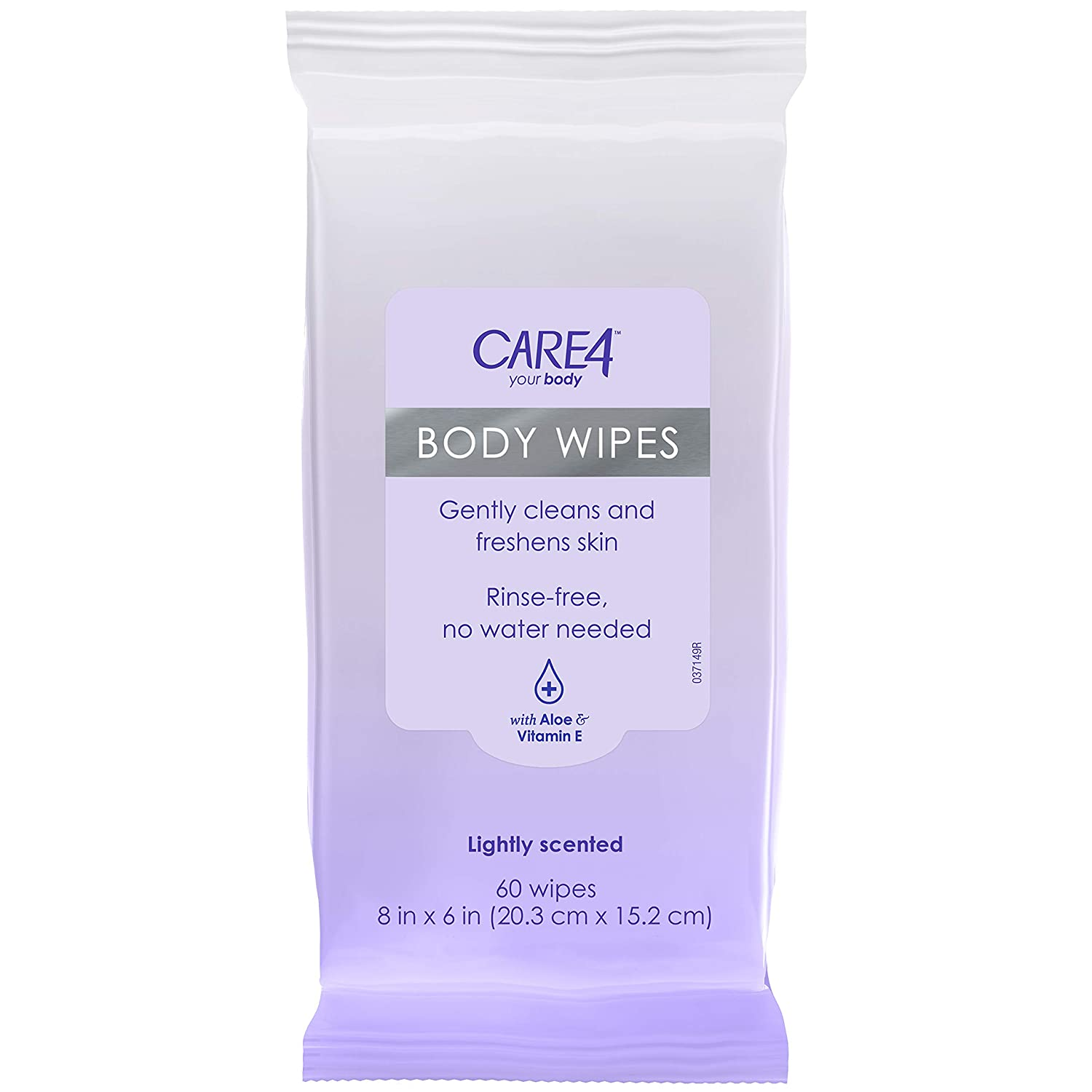 Care4 Body Wipes, Gently cleans & freshens skin - Rinse-free, no water needed - With Aloe & Vitamin E, 60Count