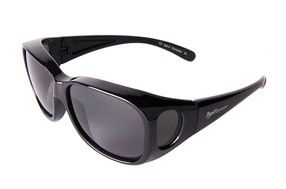 sortie de gros meilleure sélection de grande vente Rapid Eyewear SUR-LUNETTES DE SOLEIL Noires Polarisées, pour hommes et  femmes, taille moyenne-grande pour mettre par-dessus les lunettes  habituelles. ...
