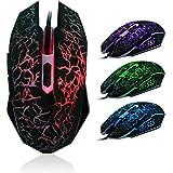 Ularma Moda Profesional coloridos del contraluz 4000 ppp juegos por cable óptico del ratón ratones